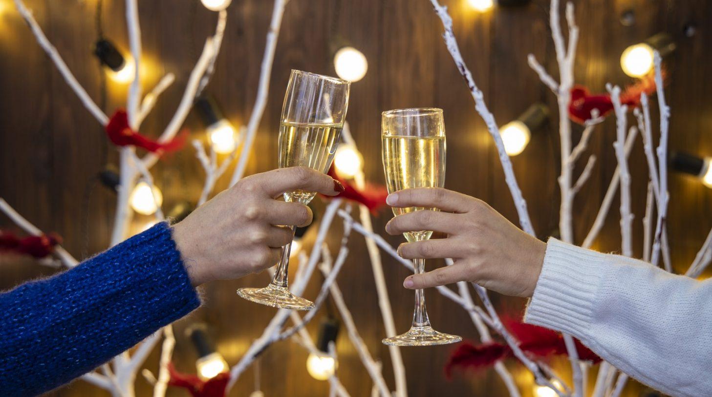 champagne två glas